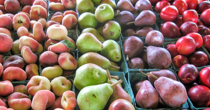 doughnut peaches, pears, and plums