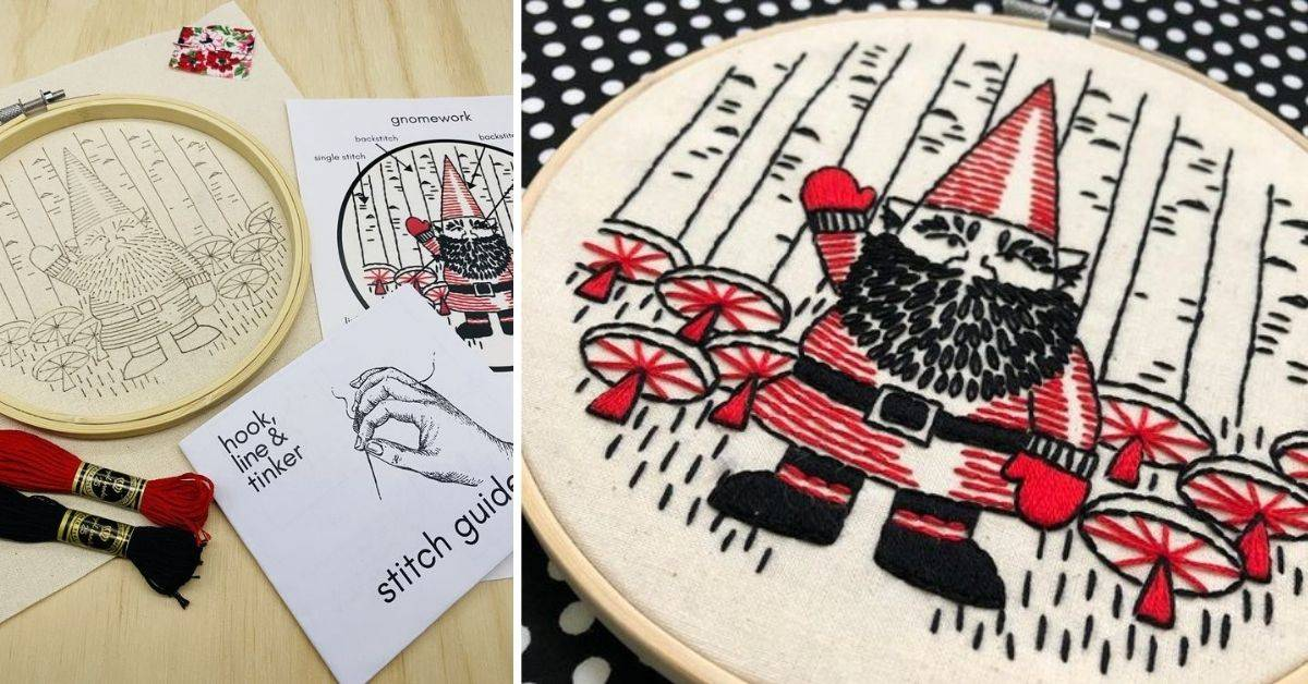 a gnome embroidery stitch kit
