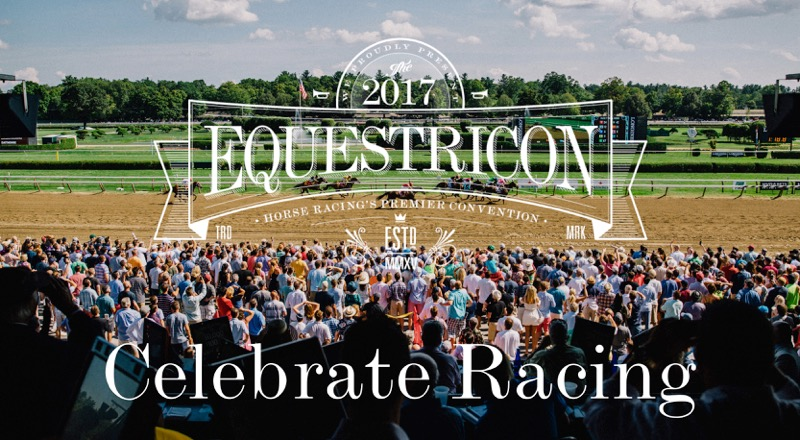 horses racing and crowd at saratoga with equestricon logo and 'celebrate racing'