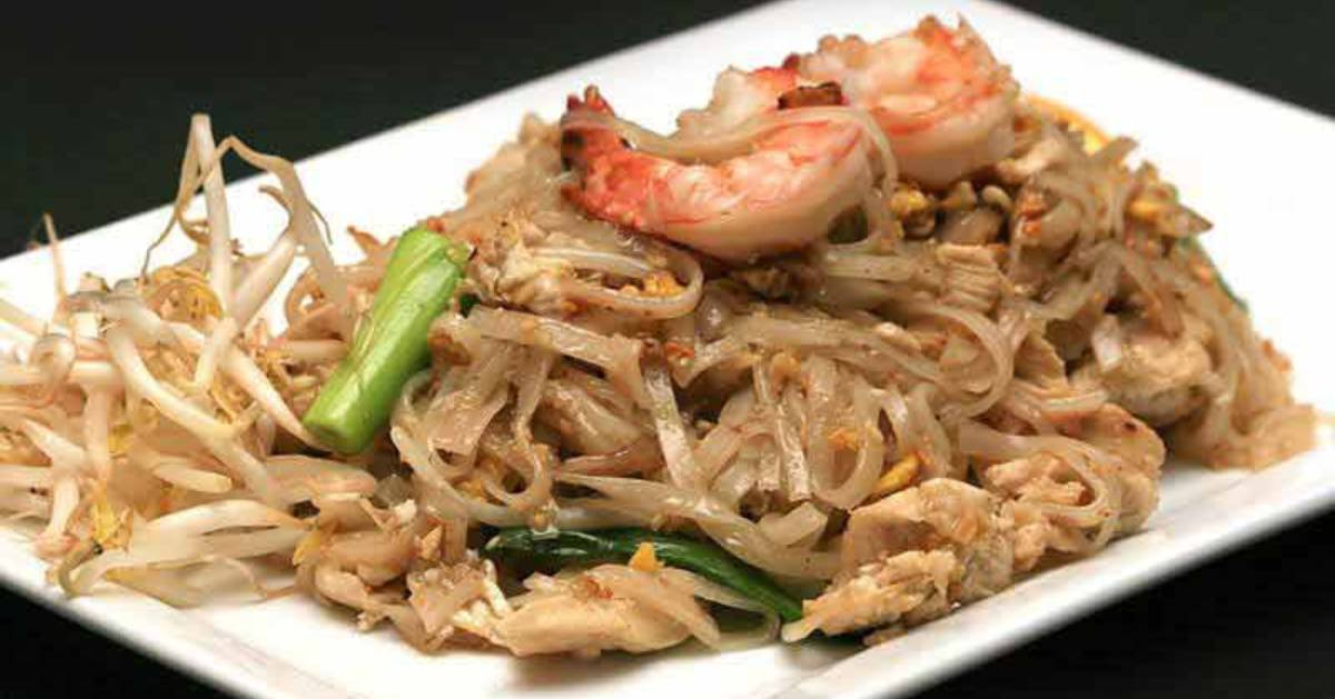 noodle dish on a white plate