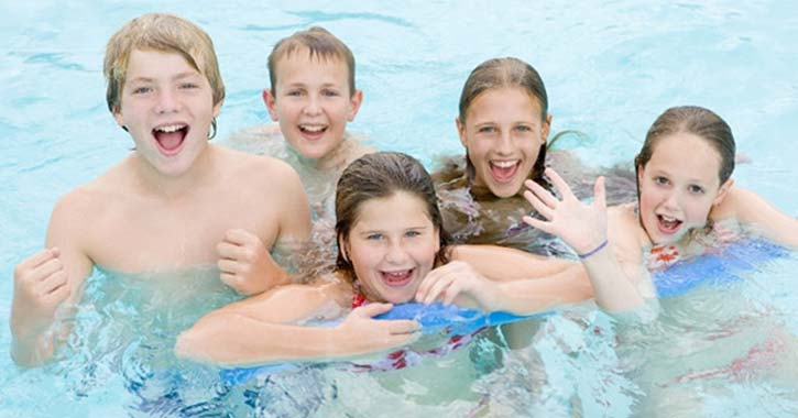 group of kids in a pool