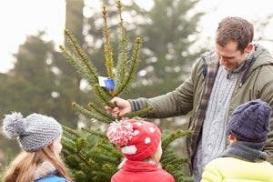 man with three children in winter hats choosing a tree