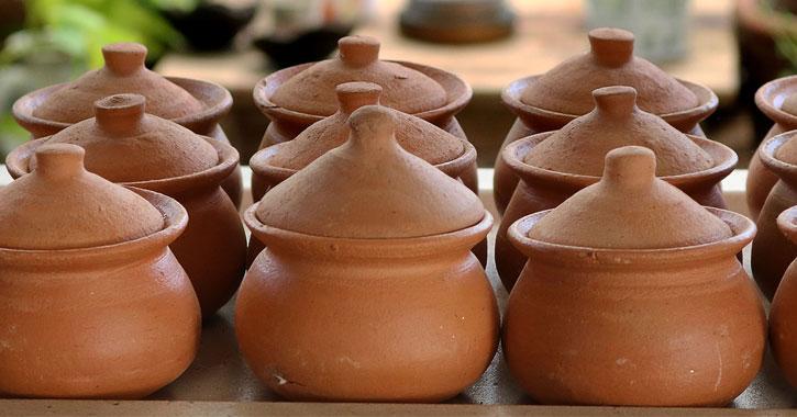 clay pots in a row