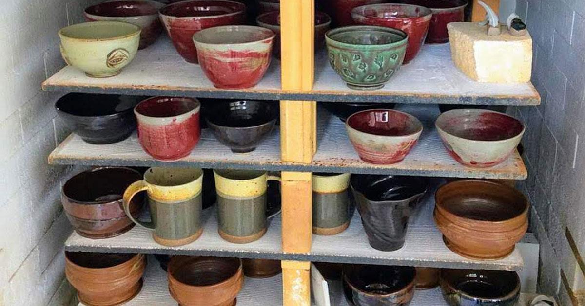 rows of clay pots