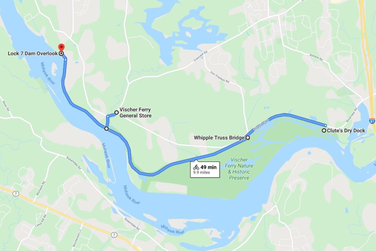 map of vischer ferry and route