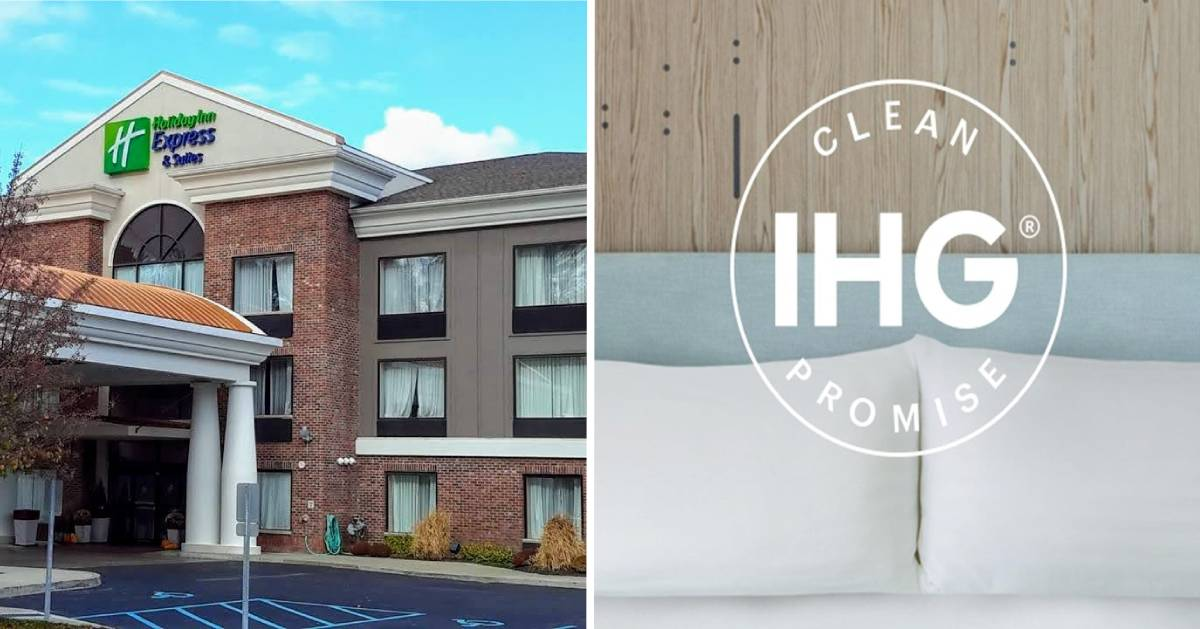 split image with outside of hotel no the left and IHG clean logo on the right