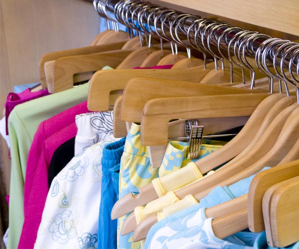 colorful shirts on a rack