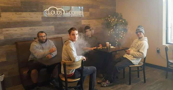 people drinking coffee and vaping