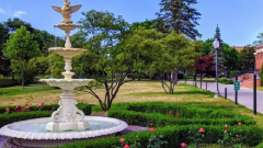 large fountain in a public park