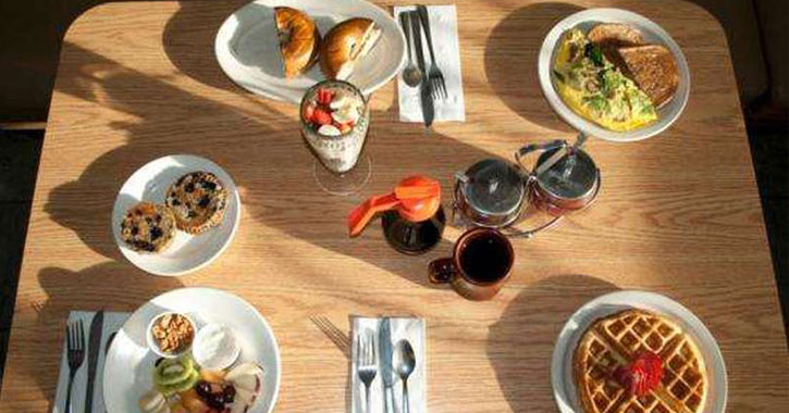 a breakfast spread on table