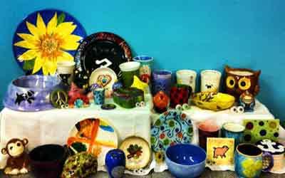display of mugs and ceramics
