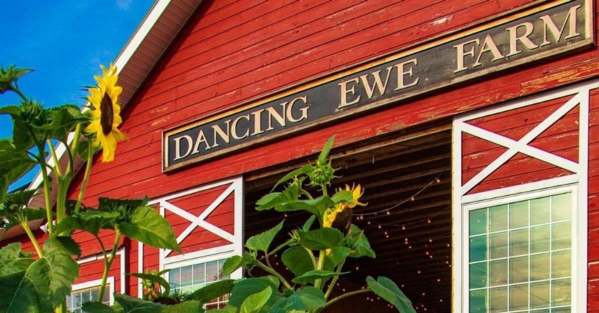 outside red barn