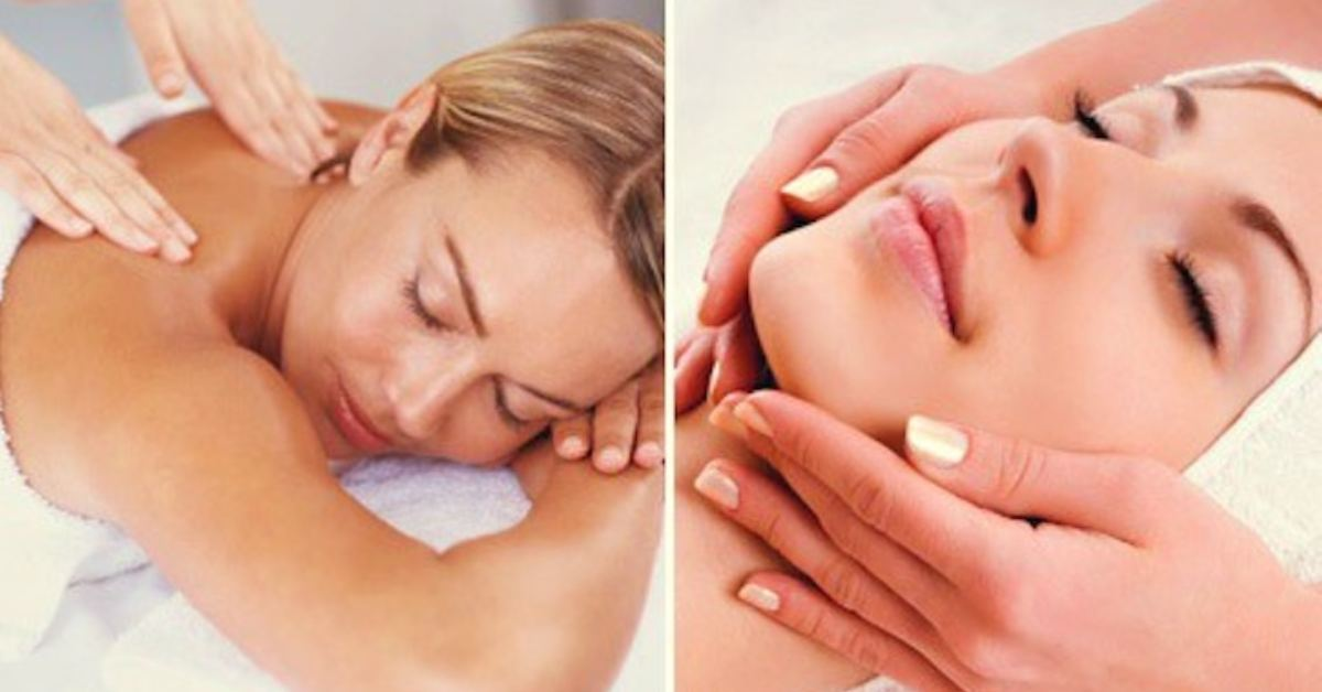 two photos of woman receiving a massage