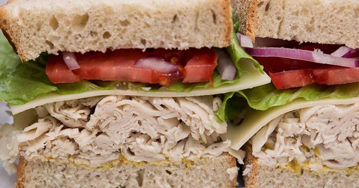 deli sandwich cut in half