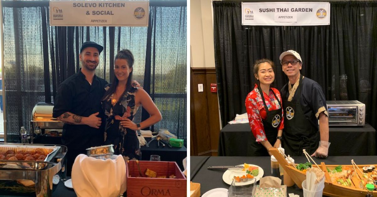 two photos of food displays and chefs