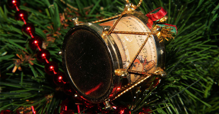 a drum ornament on a tree