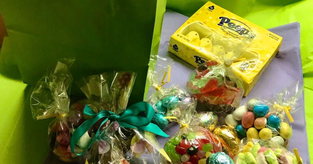 collection of easter candy and green wrapping paper