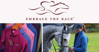 split image with logo on top, shirts on the left, and woman with a horse on the right