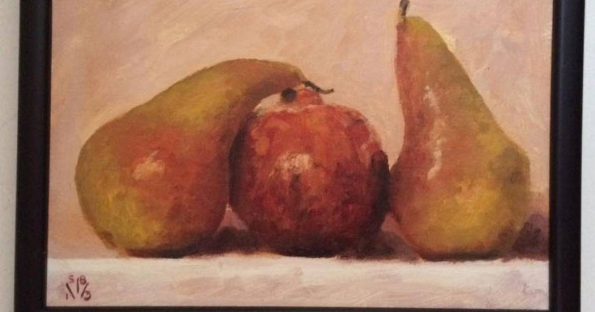 painting of two pears and an apple