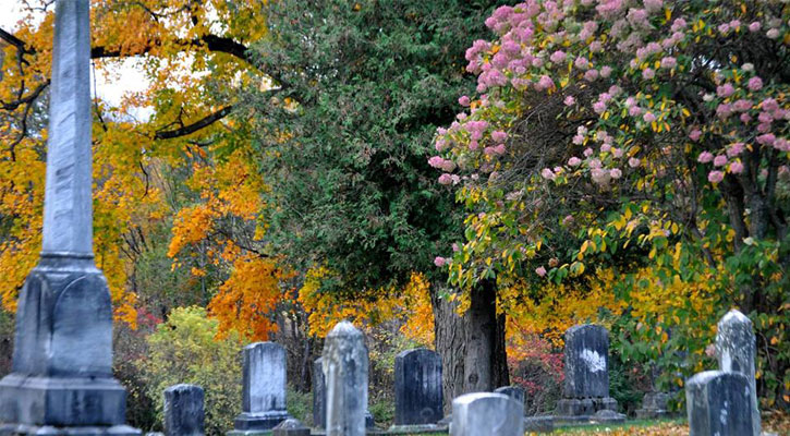 a monument and gravestones with yellow fall foliage