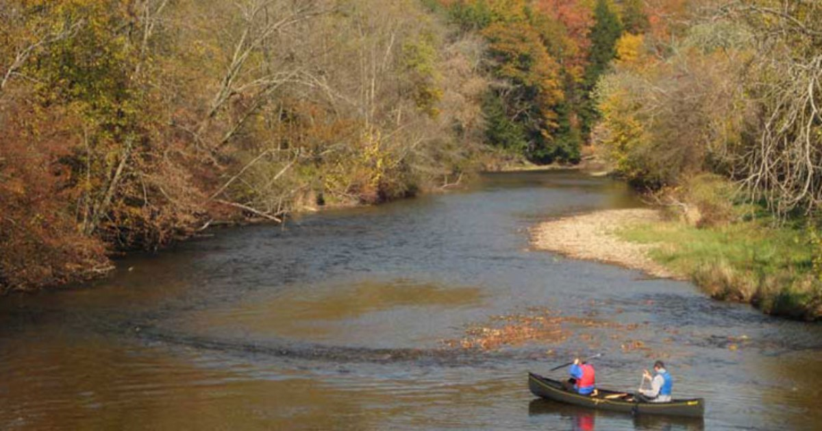 a canoe in a river during autumn