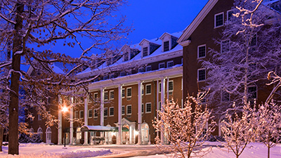exterior of the the gideon putnam in winter