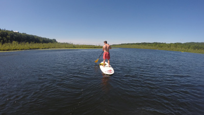 a person on a stand-up paddleboard