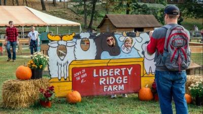 family at photo area on farm