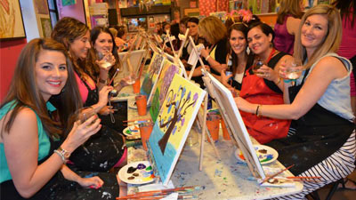 women enjoying a paint and sip class