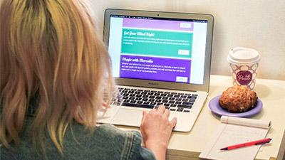 woman logging into palette's online portal