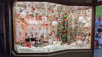 decorated window in downtown saratoga