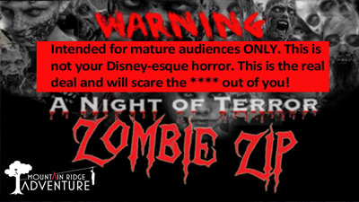 zombie zip warning sign