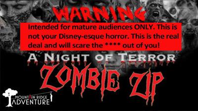 zombie zip warning sign