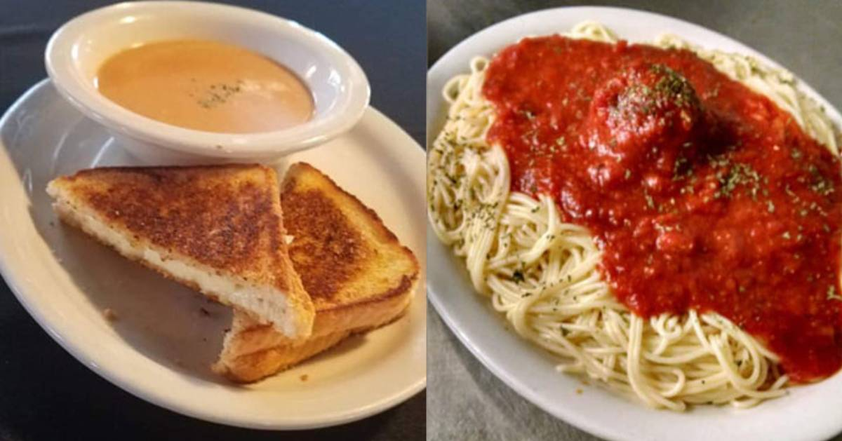 grilled cheese and bowl of soup, and a photo of pasta with red sauce
