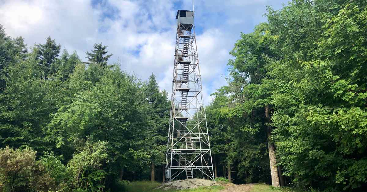 view of a fire tower in the woods