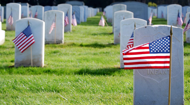 American flags depicted in front of graves in a cemetery