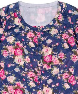 navy blouse with dark pink and light pink floral pattern
