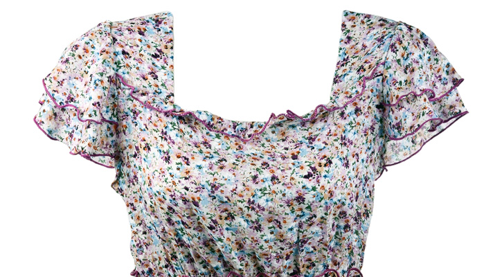 a flower patterned top