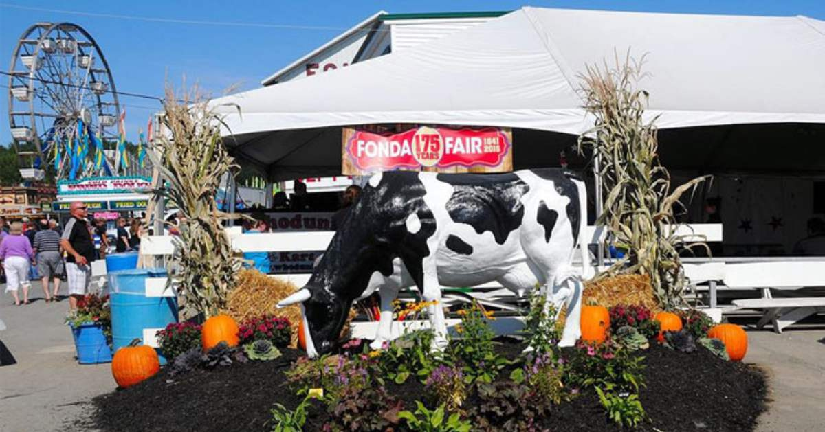 cow statue at fonda fair