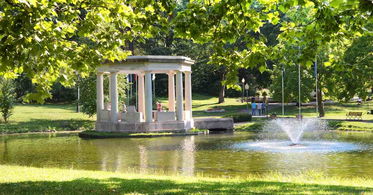 fountain and gazebo in a park