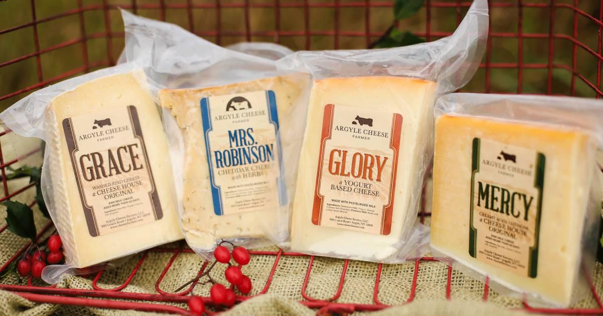 a row of argyle cheese farmer cheese blocks