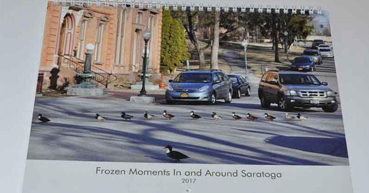 Photo of 2017 Frozen Moments In And Around Saratoga Caledar With Ducks Crossing Road On Cover