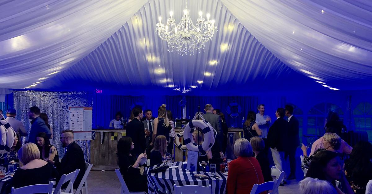 guests at a nautical-themed gala in saratoga springs