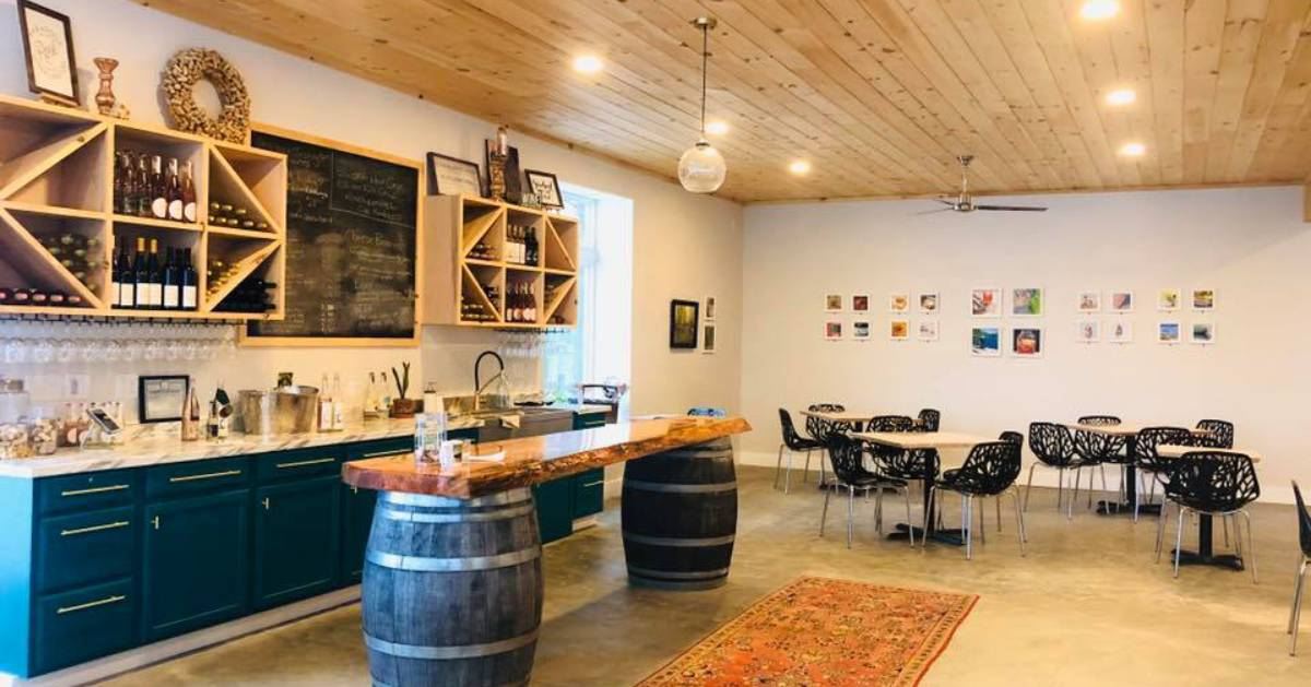 tables and bar counter in winery tasting room