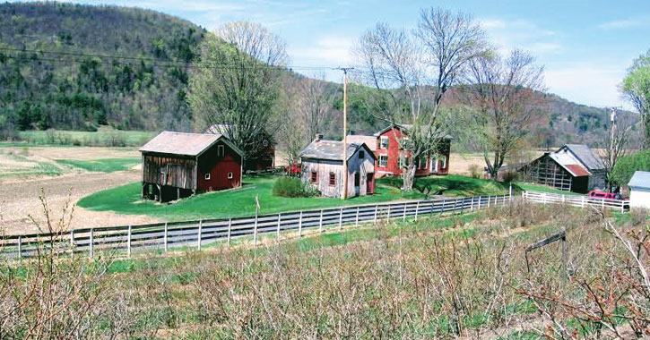 a farm with rolling fields