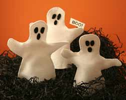 ghosts with boo sign