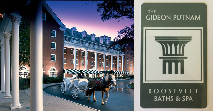 horse drawn carriage in front of Gideon Putnam on the left, Gideon Putnam logo on the right
