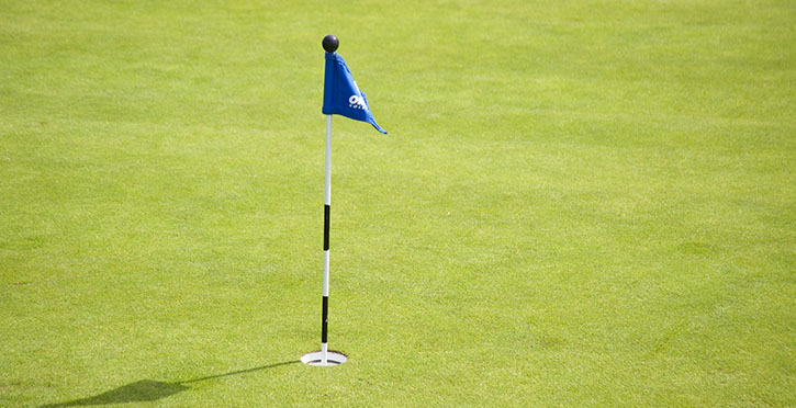 flag in hole on golf course