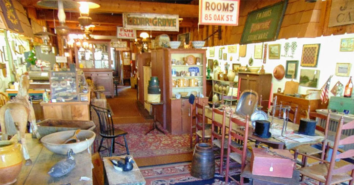 main floor of an antique store