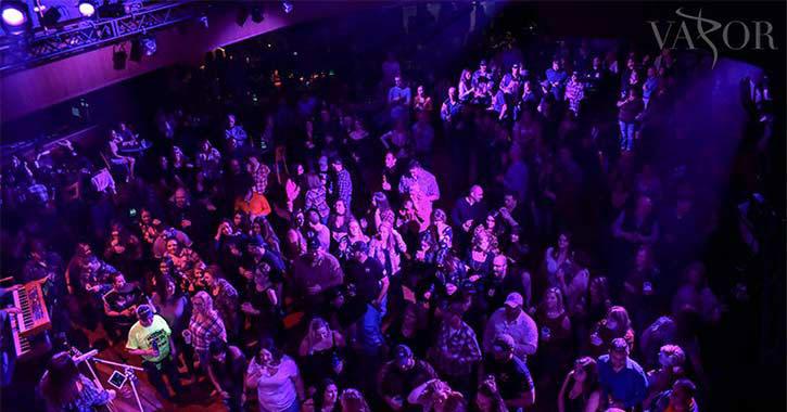aerial view of people in a nightclub